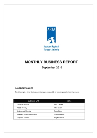 Monthly Business Report