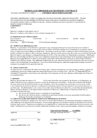 Mortgage Brokerage Business Contract