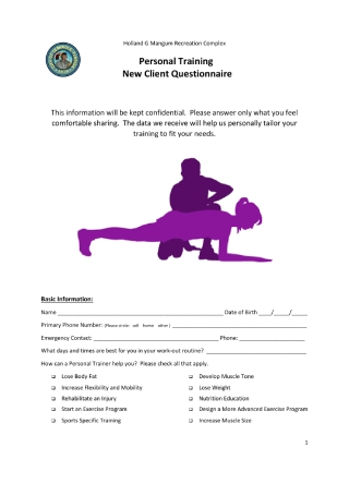 Personal Training New Client Questionnaire