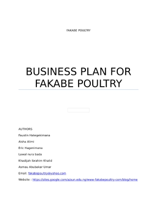 Poultry Farm Business Plan
