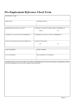 Pre Employment Reference Check Form
