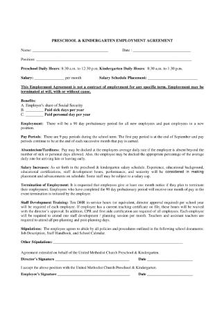 Preschool and Kindergarten Employment Contract