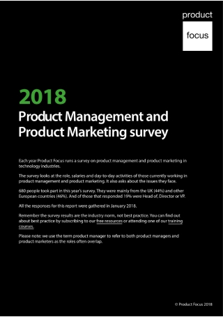 Product Management and Product Marketing Survey