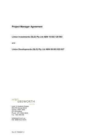 Project Management Agreement