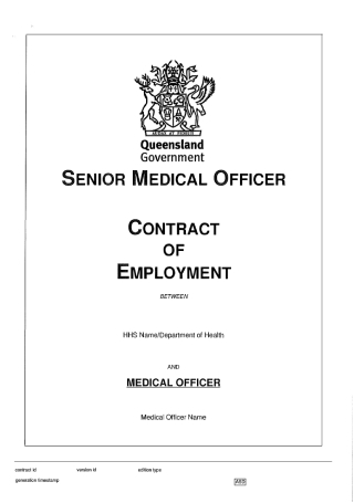 Senior Medical Officer Employment Contract
