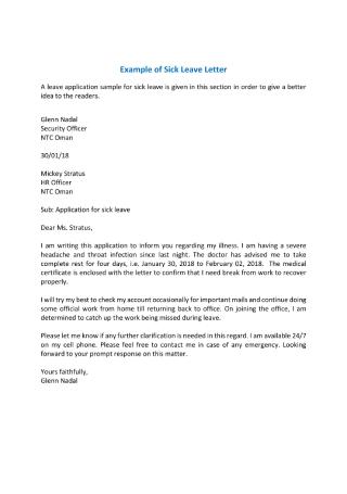Sick Leave Letter