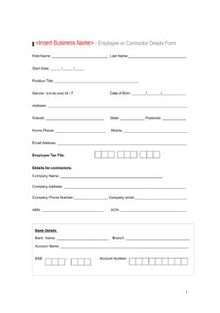 Staff Details Form