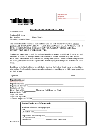 Student Employment Contract