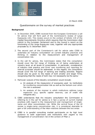Survey Questionnaire on Market Practices