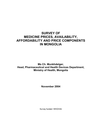 Survey of Medicine Prices in the Market