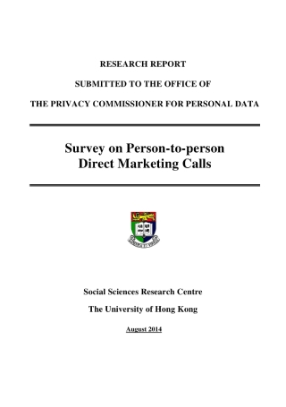Survey on Person to Person Direct Marketing Calls