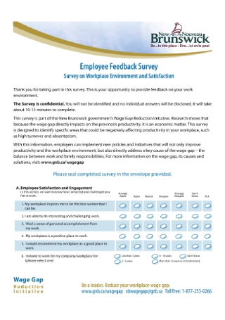 Survey on Workplace Environment and Satisfaction