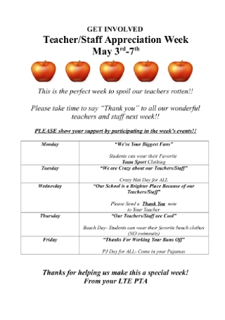 Teacher Appreciation Week Event Flyer