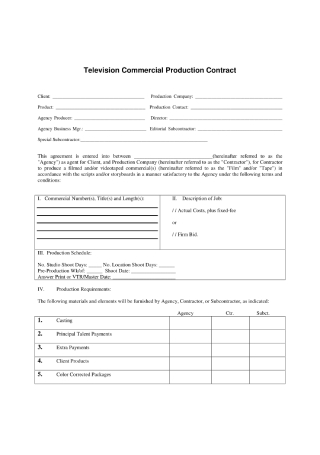 Television Commercial Production Contract