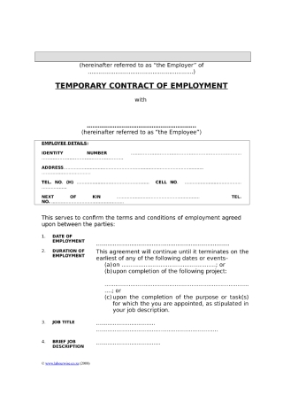 Temporary Contract of Employment1