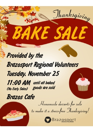 Thanksgiving Bake Sale Flyer