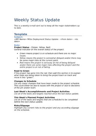 Weekly Status Update Report
