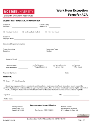 Work Hour Exception Form