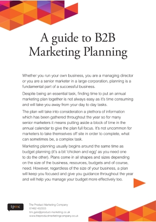 A Guide to B2B Marketing Planning