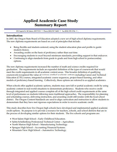 Acadamic Case Study Report Template