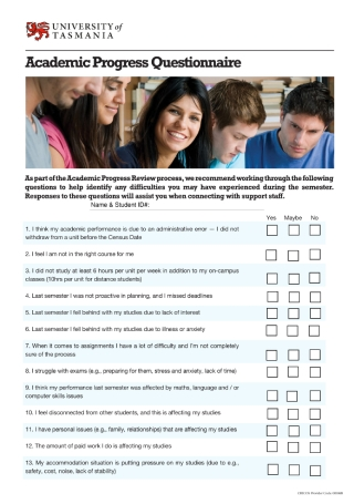 Academic Progress Questionnaire