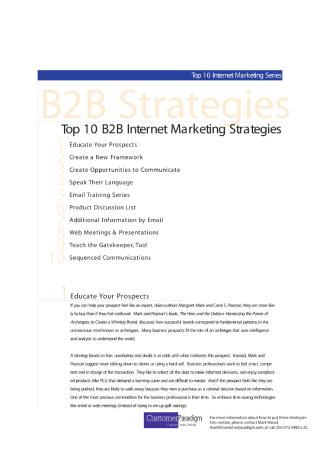 B2B Internet Marketing Strategies