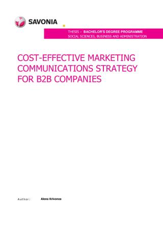 B2B Marketing Communications Strategy