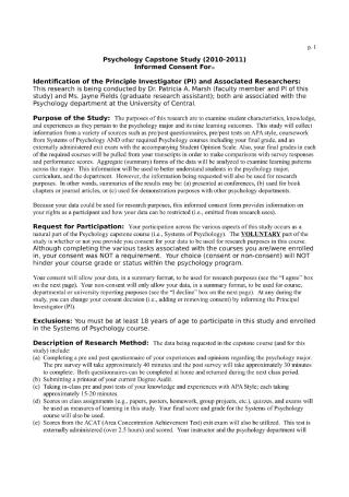 Capstone Study Questionnaire