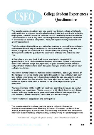 College Student Experiences Questionnaire