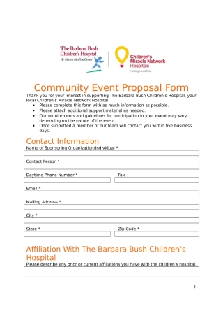 Community Event Proposal Form