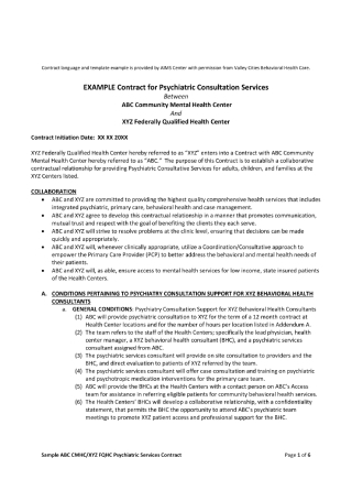 Contract for Psychiatric Consultation Services