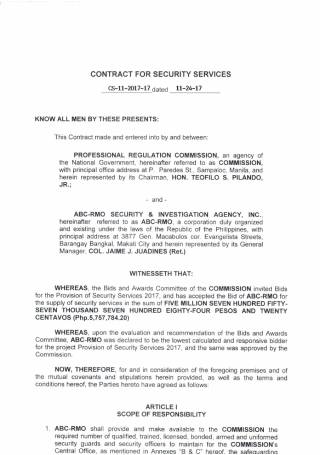 Contract for Security Services