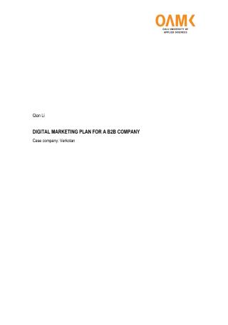 Digital Marketing Plan for B2B