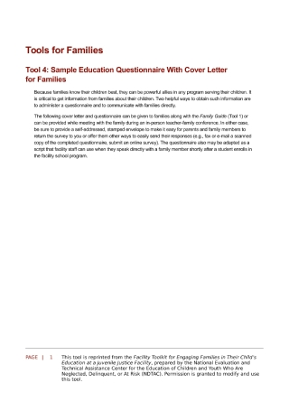 Education Questionnaire with Cover Letter for Families