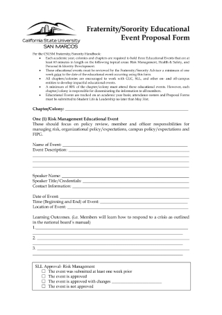 Educational Event Proposal Form