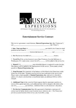 Entertainment Service Contract