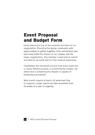 Event Proposal and Budget Form