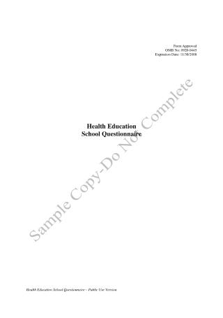 Health Education School Questionnaire