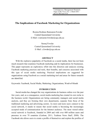 Implications of Facebook Marketing for Organizations