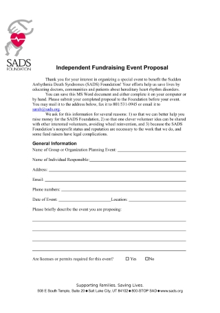 Independent Fundraising Event Proposal