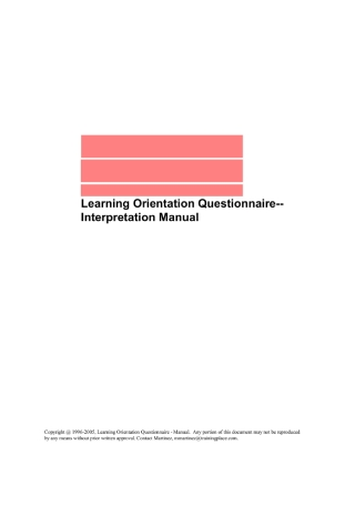 Learning Orientation Questionnaire