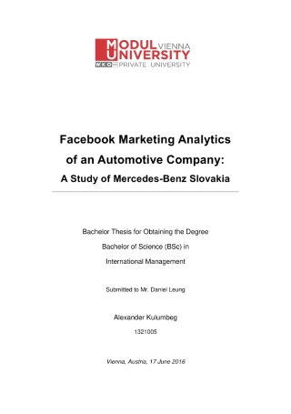 Marketing Analytics of an Automotive Company