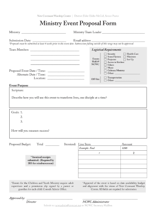 Ministry Event Proposal Form