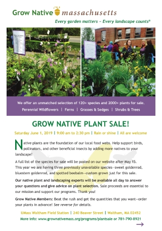 Native Plant Sale Flyer