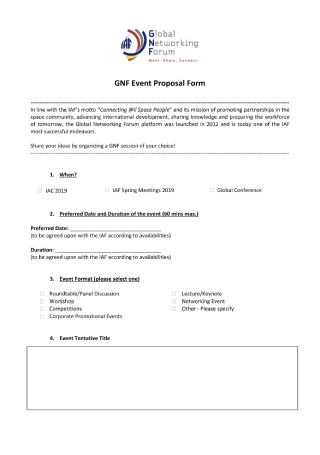 Networking Event Proposal Form