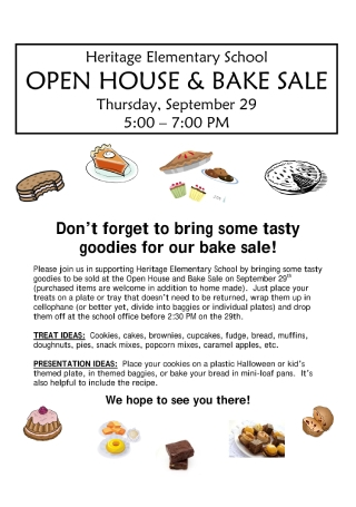 Open House and Bake Sale Flyer