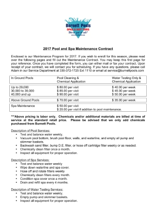 Pool and Spa Maintenance Contract