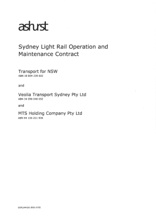 Rail Operation and Maintenance Contract