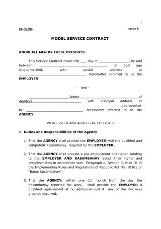 Service Contract for Private Agency
