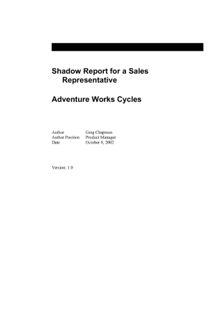 Shadow Report for a Sales Representative